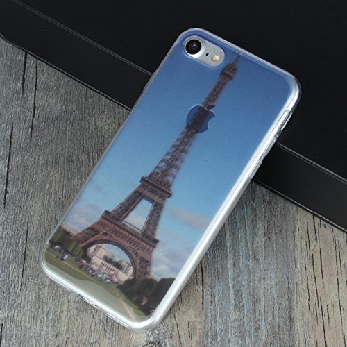 MOONCASE iPhone 7 Coque, Ultra Mince Motif Etui Souple TPU Silicone Antichoc Housse Case pour iPhone 7 (Montagne) Tour Eiffel