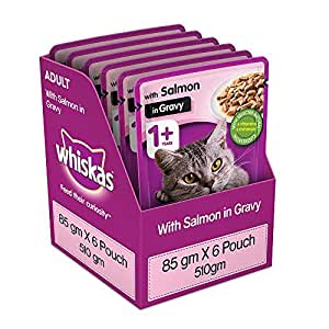 Whiskas Adult (+1 year) Wet Cat Food, Salmon in Gravy, 6 Pouches (6 x 85g)