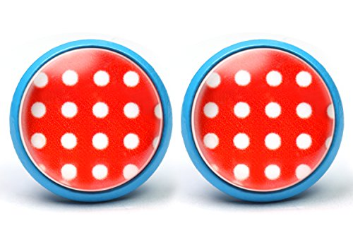 LA FABA, Ohrstecker in vielen Farben, Polka Dots, Polka Punkt, Ohrringe gepunktet, Punkte Weiß auf Rot, Ø 14 mm Durchmesser, Modeschmuck, Rockabilly Schmuck, Rockabilly Accessoires, (PP WaufR-blau)