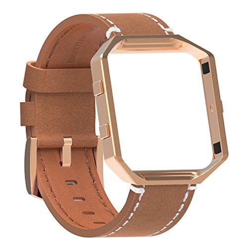 Fur Fitbit Blaze Premium Leder Armband mit Metallrahmen,SnowCinda Ersatz Uhrenarmband fur Fitbit Blaze Smartwatch (wachs Braun Band+RoseGold Rahmen+RoseGold Schnalle, L) (Orange-brown-leder-armband)
