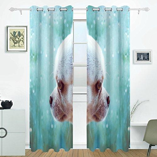 JSTEL Hund Vorhänge Panels Verdunklung Blackout Tülle Raumteiler für Terrasse Fenster Glas-Schiebetür Tür 139,7x 213,4cm, Set von 2 (Tür-panel Hund Terrasse)