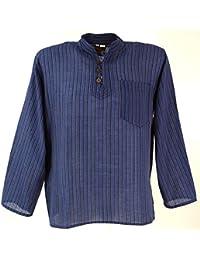 GURU-SHOP Nepal Fisherman Shirt Striped Goa Hippie Shirt, Cotton, Shirts & Tops