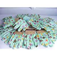 2to5 Bulk Classpacks Childrens Jersey Knit Green Patterned Gardening Gloves with Elasticated Wrists (Pack 12)