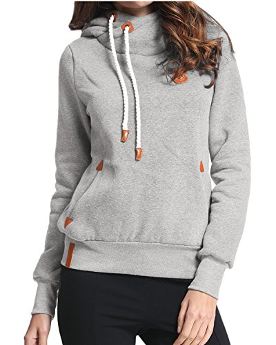 StyleDome Winter Damen Hoodies Pullover Langarm Jacke Top Sweatshirt Pullover Tops Jumper Grau333850 S (Top Damen Pullover)