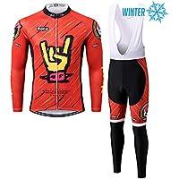 Thriller Rider Sports® Hombre Rock Music Red Ciclismo Invierno Térmico Calentar Chaqueta y Pantalones Traje 2X-Large