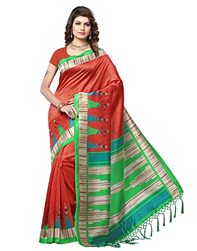 e-VASTRAM Women\'s Mysore Art Silk Printed Saree With Tassel/Kutch(RIMZIMM_Maroon)