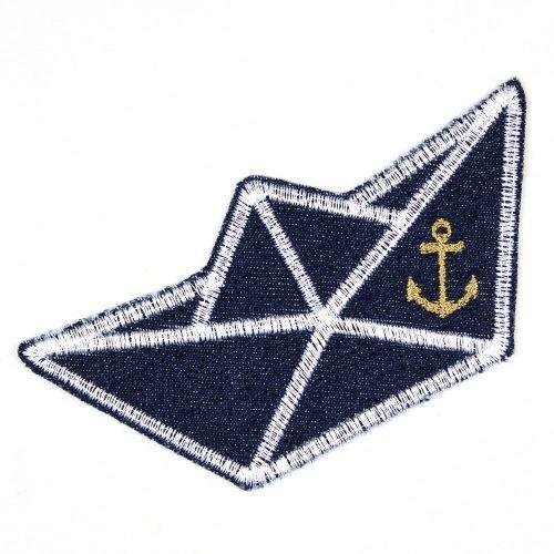 Bügelflicken Boot auf Jeans blau 5,5 x 11,5 cm Flicken zum aufbügeln Denim Aufbügler gesticktes Bügelbild für Kinder und Erwachsene als Applikation und Accessoire -