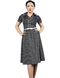 bdd7909ca97 Robe Chic Vintage1950 s Noir Pois Polka Swing Rockabilly pour femme -  Pentagramme - Miss Marylin