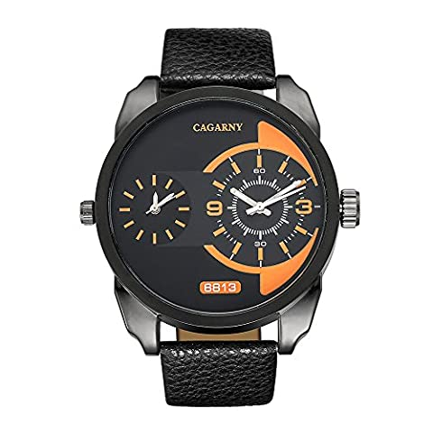 Sheli All Black Extra Large Mens Dual Time Zone GMT