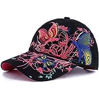 Qchomee Sombrero de béisbol con diseño de mariposa y mariposa para mujer, ideal para viajes, deportes, playa, protección solar, fiesta, etc, color negro, tamaño Children recommend age 3-8Years