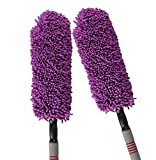 Love Life Auto-Staub-Kollektor, Microfiber-Autowäsche-Reinigungsbürste, Haushalts-Reiniger-Staub-Reinigungs-Autowäsche 2 Stück-Satz Dehnbarer Handgriff,Purple