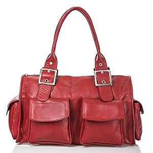 italienische Damen Henkeltasche Stockholm aus echtem Leder in klassischem rot, Made in Italy, Handtasche 37x23 cm