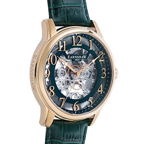 Thomas Earnhshaw Men's Longitude Mechanical Watch with Green Dial Skeleton Display and Green Leather Strap ES-8062-06