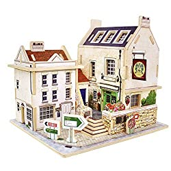 Creative Assemble Puzzle Toys Child Early Education Wooden 3D Puzzle House England Bar
