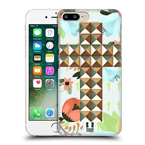 Head Case Designs Mandarino Pelle Di Coccodrillo Pattern Cover Retro Rigida per Apple iPhone 7 Plus / 8 Plus Croce Floreale Stampata