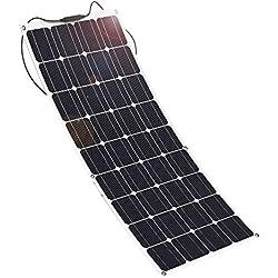 GIARIDE 12V 18V 100W Panneau Solaire Monocristallin Cellules Chargeur Module Solaire Photovoltaïque Flexible Léger Étanche MC4 Connecteur pour RV, Bateau, Toit, RV, Voiture, Caravane, Batterie Extérieur 12V
