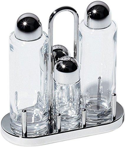 Alessi 5070 servizio per olio, aceto, sale e pepe in cristallo e acciaio lucido