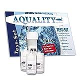 AQUALITY 4-fach Wassertest-Set pH,GH,KH und NO2 Test (Aquarium & Gartenteich Tropfentest - Schnell und einfach den pH-Wert, die Karbonathärte, die Gesamthärte und den Nitritwert im Aquarium und Gartenteich messen. Jetzt im Spar-Set)