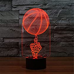 3D ilusión óptica Creatividad de Baloncesto Luz nocturna 7 colores Cambio de botón táctil USB de suministro de energía LED lámpara de mesa lámpara