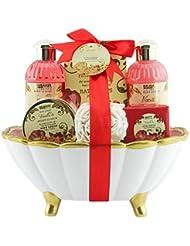 BRUBAKER Bade-Geschenkset Pfingstrose & Vanille mit Keramikwanne in Muschelform 7-teilig