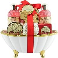 BRUBAKER 'Peony Vanille Love' Set de regalo de baño con bañera de cerámica, 7 piezas