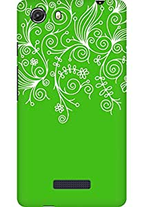 AMEZ designer printed 3d premium high quality back case cover for Micromax Unite 3 Q372 (green white design pattern abstract)