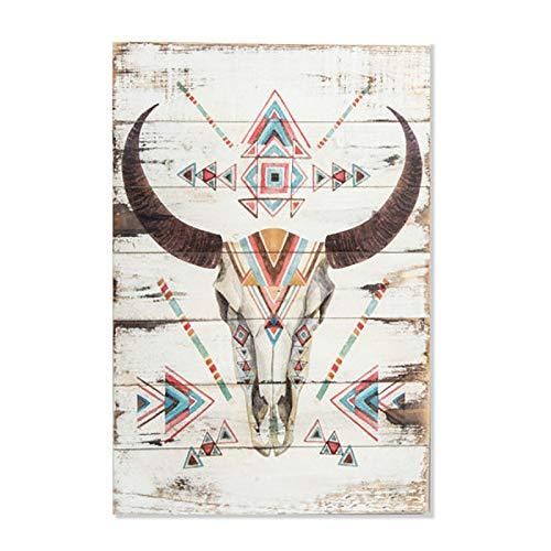 Cuadro de Madera Decorativo para Pared de 40x60cm. Estilo étnico- Hogar y más - A