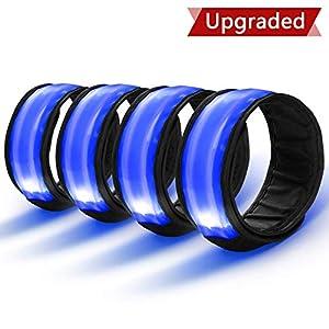 4 Stück LED Armband Sicherheit Reflektor Armband mit Drei Beleuchtungs modi LED Slap Armband/Leuchtband/Reflektorband für Laufen Joggen Radfahren Hundewandern Running und andere Outdoor Sports