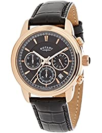 Rotary Men's Quartz Watch with Black Dial Chronograph Display and Black Leather Strap GS02879/04