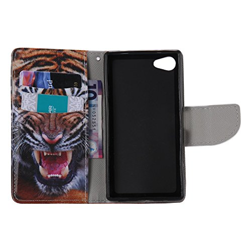 Ooboom® Sony Xperia Z5 Coque PU Cuir Flip Housse Étui Cover Case Wallet Portefeuille Fonction Support avec Porte-cartes pour Sony Xperia Z5 - Don't Touch My iPhone Tigre