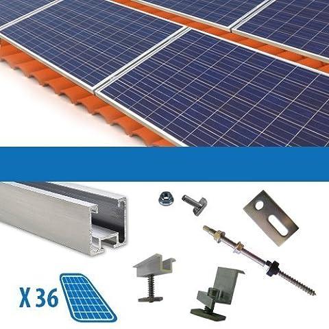 Kit Fixation pour 36 Panneau Solaire Photovoltaique 250W 9Kw Toit en Tuiles