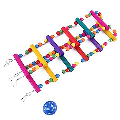 Bird Ladder Toy 12-Step Colorful Bird Climbing Toy Cage Stand for Parrot Budgie 5