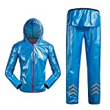 CoURTerzsl Outdoor-Regenmantel Fahrradjacke mit Reflektierenden Streifen und Regenschutz S blau