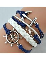 Malloom® más popular nuevo niñas hecho a mano ajustable timón + ancla + encantos multicapa pulsera azul
