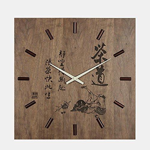 vento cinese incisione in legno orologio da parete muto - cerimonia del tšš schema UFAM, tšš regalo incisione laser orologio faccia tridimensionale scala di legno puntatore set di metallo di rame 13.3 pollici , B