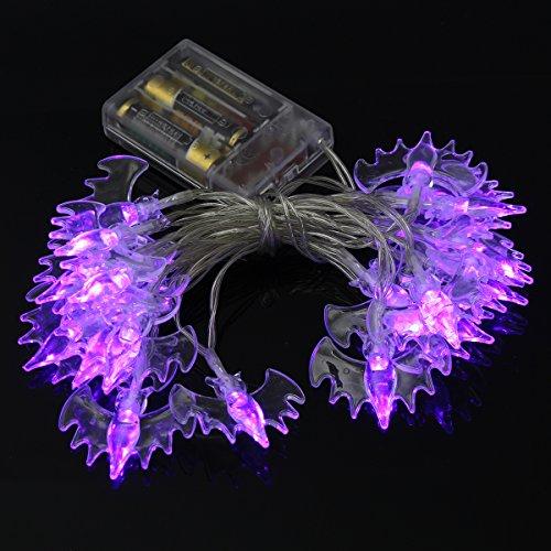 MASUNN Batteriebetriebene 2M 20LEDs warm White Purple Fledermaus Fairy String Lichter für Halloween Garten Fenster-lila