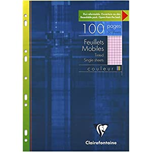Clairefontaine A4 Single Coloured Sheets, 5/5 Square Ruling, Blue, 100 Pages