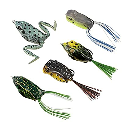 RUNCL Topwater Frog Lures, Soft Fishing Lure Kit Tackle Box Bass Pike Snakehead Dogfish Musky (Pack of 5) by RUNCL