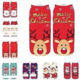 Moonuy Frauen Söckchen Damen 3D Cute Cartoon Lustige Weihnachten Verrückte Amazing Novelty Print schöne Animal Print Socken