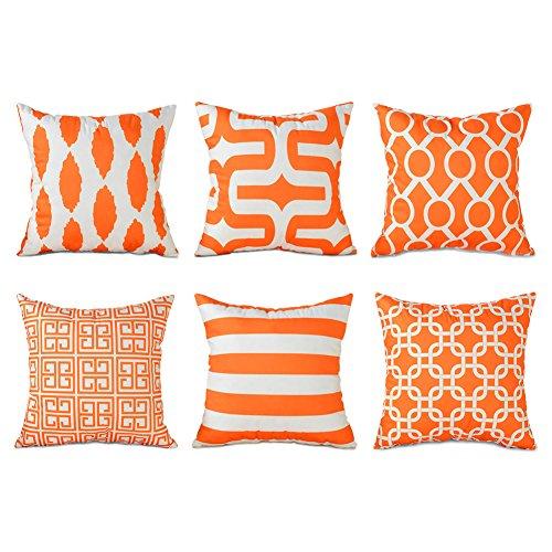 Top finel Hogar 6 Cojines Decorativa Almohadas Fundas Para Sofá Cama Sala de Estar Naranja