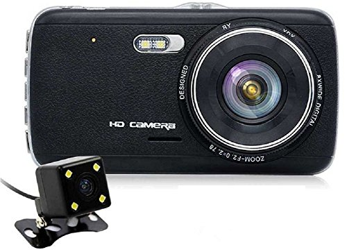 Vingtank 4.0'' IPS Screen Autokamera Dashcam Full HD 1080P Armaturenbrett Kamera DVR Dual Lens Rückfahrkamera 170 ° Weitwinkelobjektiv mit G-Sensor, Automatische Loop-Zyklus Aufnahme, Bewegungserkennung