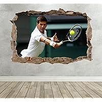 3D Novak Djokovic Tennis Smashed Breakout Wall Sticker Boys Girls Bedroom - Extra Large Landscape 100cm (w) X 70cm (h) preiswert