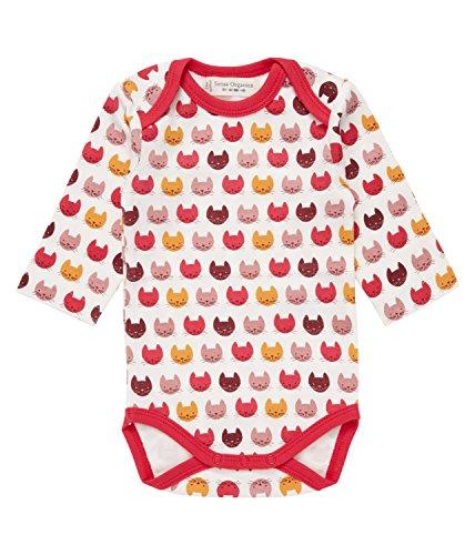 Sense Organics Baby-Mädchen Body Yvon Retro Langarmbody Gots-Zertifiziert Mehrfarbig (Aop Cat Heads 187007), 68 (Herstellergröße: 3M)
