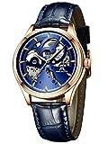 Relojes Hombre Reloj Automatico de Hombre Mecanicos Militar Deportes Impermeable Esqueleto Oro Diseño Relojes de Pulsera de Cuero Negro Luminosos Analógico