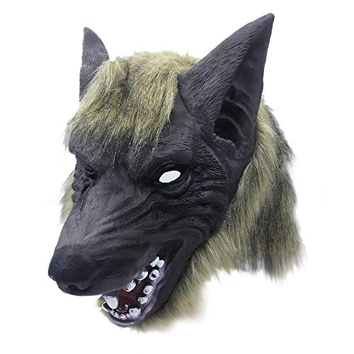 DeHolifer Halloween Tierkopfbedeckung oder Handschuhe Brauner Wolf Grauer Wolf Löwe Tiger Grauer Wolf - Löwe Kostüm Streich