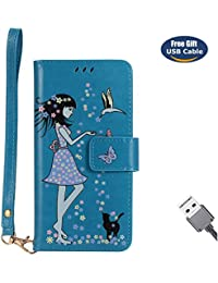 Funda Galaxy J3 2017,Funda Cover Galaxy J3 2017,Aireratze Slim Case de Estilo Billetera Carcasa Libro de Cuero,Carcasa PU Leather Con TPU Silicona [Material luminoso seguro] [Girl Cat Pattern] para Mujeres niña Case Interna Suave [Función de Soporte] [Ranuras para Tarjetas y Billetera] [Cierre Magnético] para Samsung Galaxy J3 2017 (Azul) (+ Cable USB)