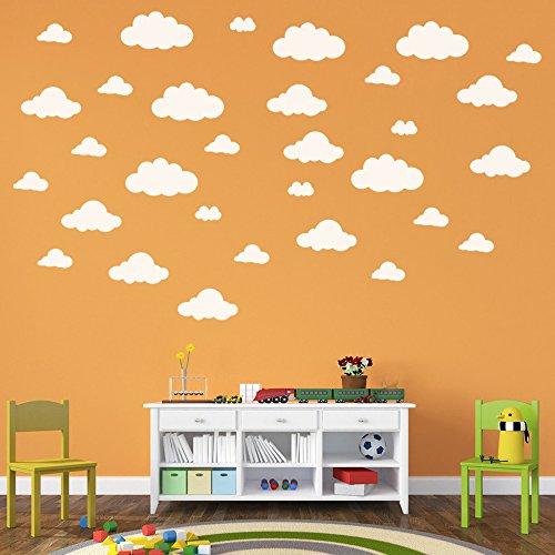 Ouneed® Wandaufkleber Wandtattoo Wandsticker , 31pcs / set DIY große Wolken 4-10 Zoll-Wand-Aufkleber-entfernbare Vinylwand-Abziehbilder Kinderzimmer-Hauptdekoration Art - 4in Wand