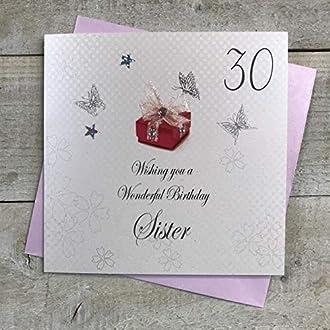 """Cotone bianco Carte""""carta 30 ° compleanno per la sorella"""" 30 ° compleanno a mano con testo in inglese"""