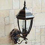Wandleuchte außen antik gold IP44 aus Aluminium Glas Wandlampe rustikal Lampe Aussenbereich Hof Garten Beleuchtung