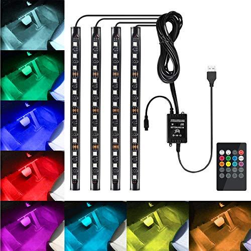 Favoto 4x12 Innenbeleuchtung LED Atmosphäre Licht Auto Innenraumbeleuchtung led innenraum mit USB-Port und IR Fernbedienung